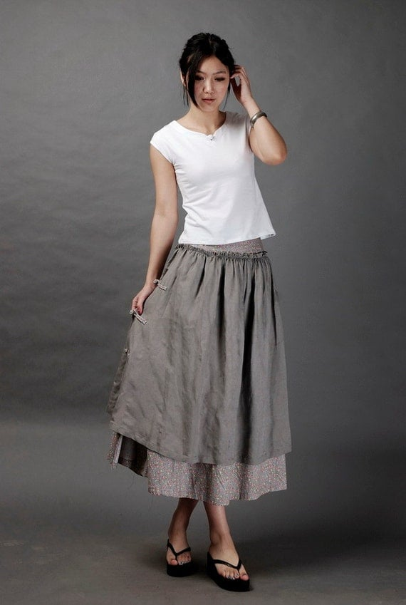 Floral design linen grey skirt(more colour and size choice)