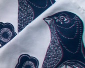 Placemats Set of two block printed Blossom Bird in Indigo