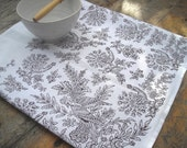 Linen Tea towel block printed Peacock toile de Jouy in Plum - papatotoro