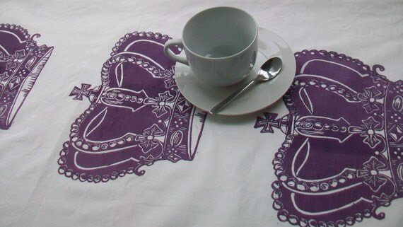 SALE Tea towel Hand block printed Royal Crowns in Purple