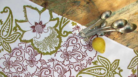 Linen Tea towel block printed Botanical Orchid  blossom in olive and cocoa