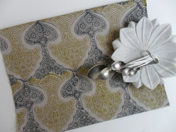 SALE Natural Linen Tea towel block printed Ornate Tallulah