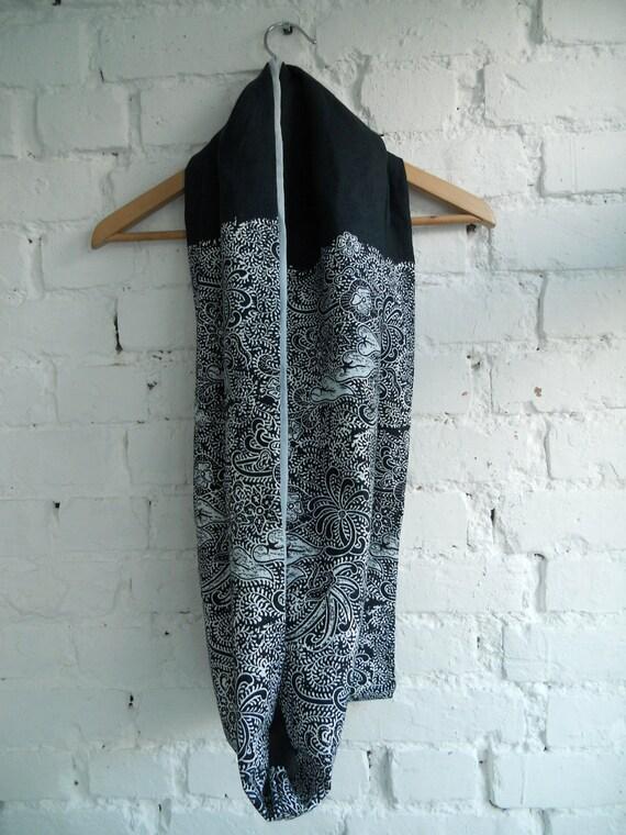 SALE Hand printed Indigo Linen Infinity Scarf  Kimono Blossom