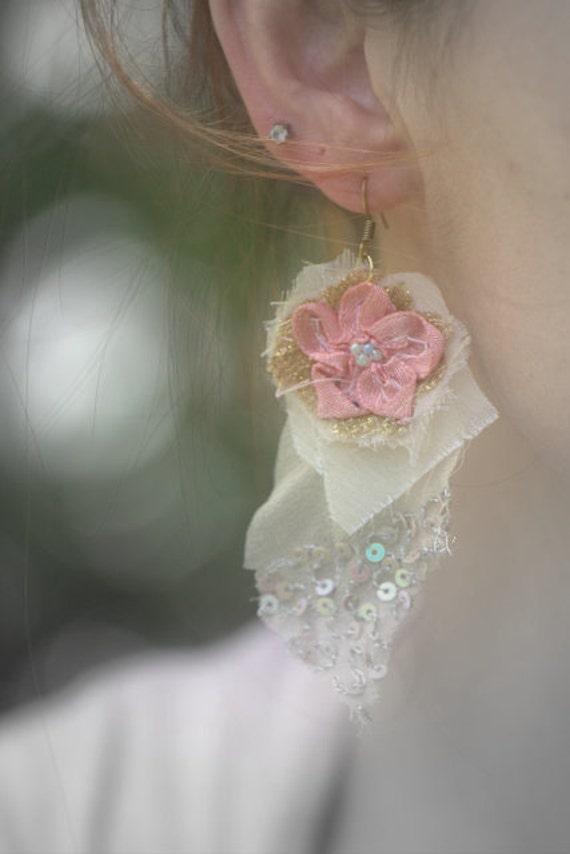 Sample Sale- Embroidered Silk Georgette Textile Earrings, Fiber Art Earrings