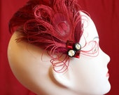 RESERVED LISTING Red Fascinator peacock feathers with buttons and gems