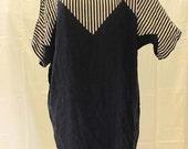 Vintage black beige stripe 100% silk dress