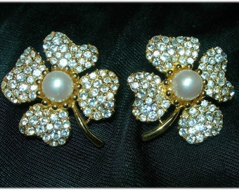 Gorgeous Signed Trifari Earrings - Clovers with Rhinestones and Faux Pearl