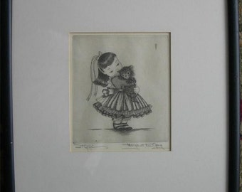 Girl with Her Kitten - Etching by Margaret Ann Gaug
