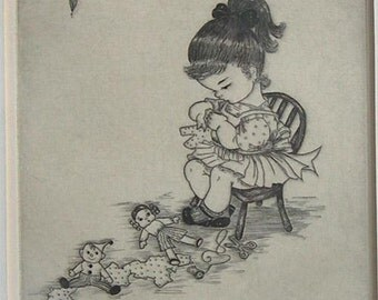 Little Girl Sewing Clothes for Her Dolls - Etching by Margaret Ann Gaug