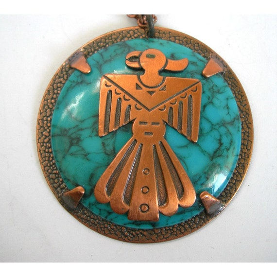 Signed Bell Copper American Indian Thunderbird By Hatstoflats