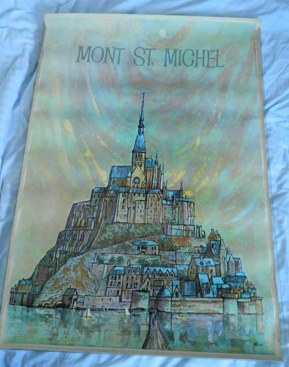 Vintage Travel Poster From The 1950s - Mont St Michel In France by Earl Thollander