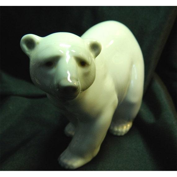 Clearance 20% OFF - Vintage Polar Bear Figurine - Too Cute
