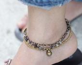Gray Smoky Quartz Chain Anklet