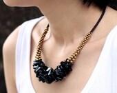Jet Black Bunch Necklace