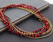 Coral Long Wrap Necklace