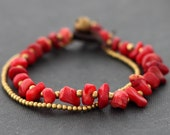 Coral Brass 2 Strand Bracelet
