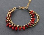 Coral Layer Brass Adjustable Bracelet