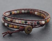 Fancy Jasper Light Brown Leather Wrap Bracelet