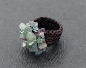 Rainbow Fluorite Knitted Ring