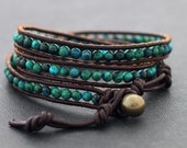 Chrysocolla Brown Leather Wrap Bracelet