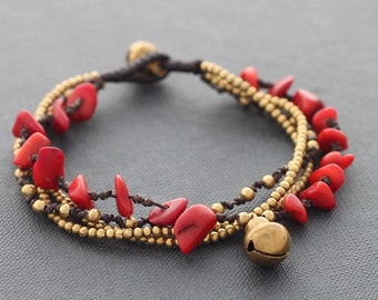 Coral Brass Chain Bracelet