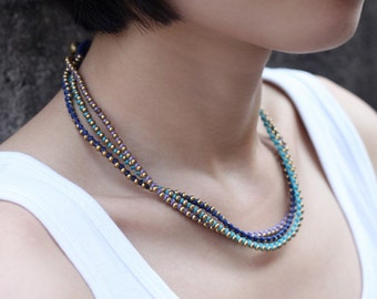 Multi Three Color Beaded Brass Blue Necklace