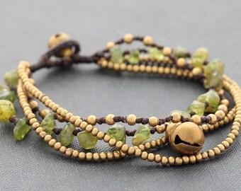 Peridot Brass Chain Bracelet
