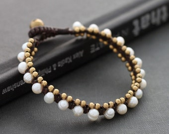 Pearl Brass Dotty Bracelet