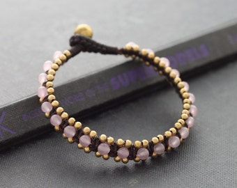 Rose Quartz Woven Bangle Bracelet