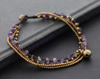Amethyst Layer Chain Anklet