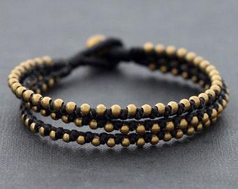 Punk 3 Strand Black Beaded Bracelet