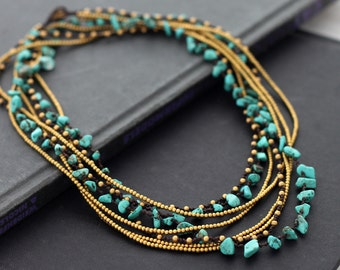 Turquoise Long Wrap Necklace