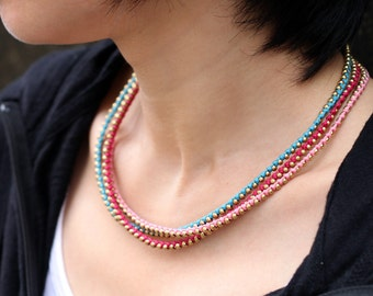 Berry 3 Strand Beaded Necklace