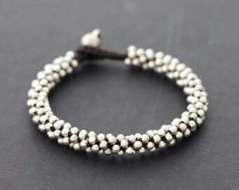 Silver Bead Weaving Bracelet