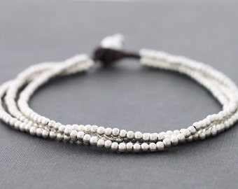Silver Beaded Anklets, Multi Strand Woven Anklets, Strand Woven Women Anklets, Simple Basic Hippy