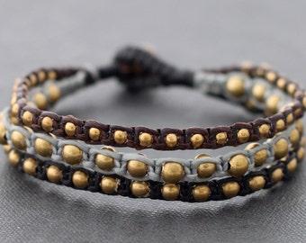 Ethnic Rock Stud 3 Size Bead Bracelet