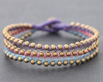 Sweet Pastel Brass Beaded Bracelet