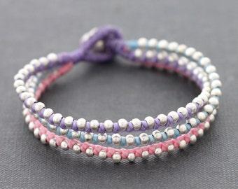 Sweet Pastel Silver Beaded Bracelet