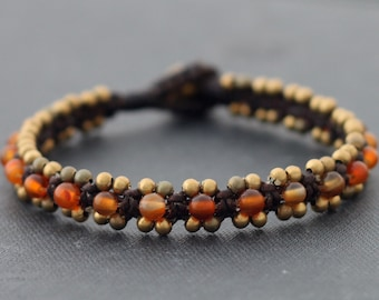 Carnelian Beaded Cuff Bracelet