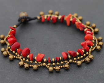 Anklet Coral Chandelier Raw Brass Lace Stone