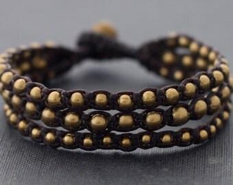Brown Brass 3 Size Bead Bracelet