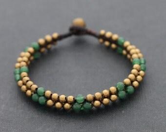 Round Jade Brass Beaded Bracelet