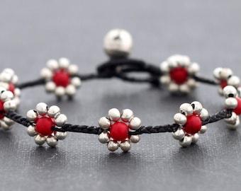 Daisy Coral Silver Bracelet