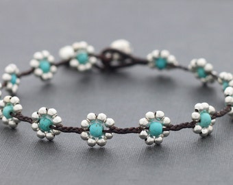 Daisy Turquoise Silver Anklet