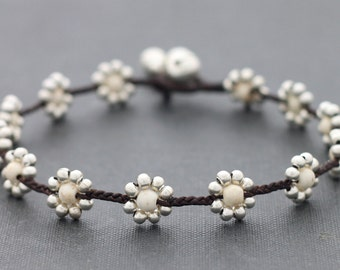 Daisy Howlite Silver Anklet