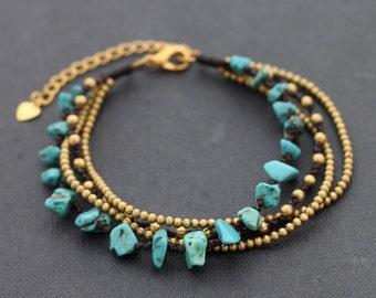 Turquoise Chain Adjustable Bracelet