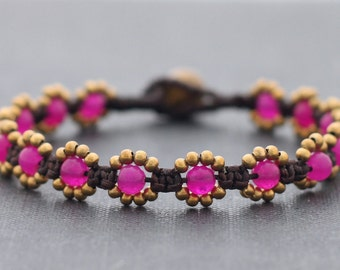 Fuchsia Mini Daisy Bracelet
