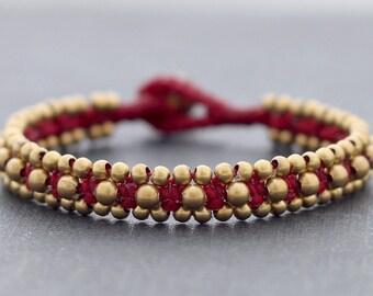 Maroon Red Beaded Cuff Bracelet