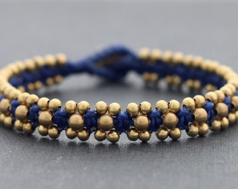 Dark Blue Brass Beaded Bracelet