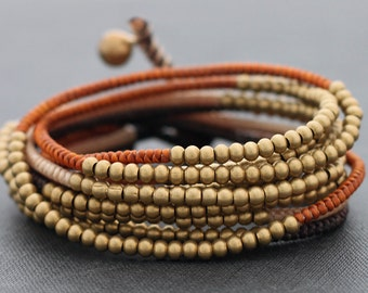 Earth Tone Beaded Wrap Bracelet